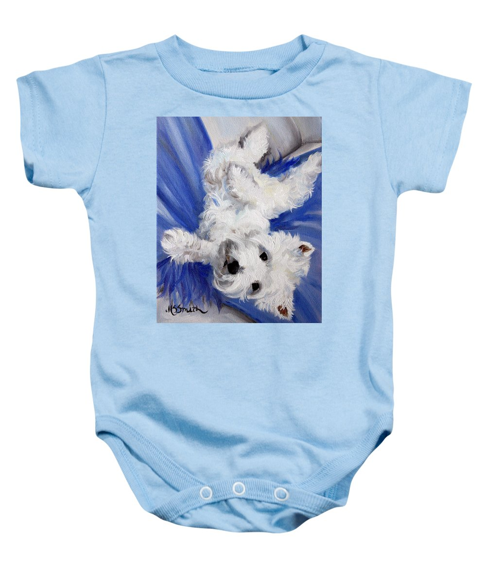 Art Baby Onesie featuring the painting Laid Back by Mary Sparrow