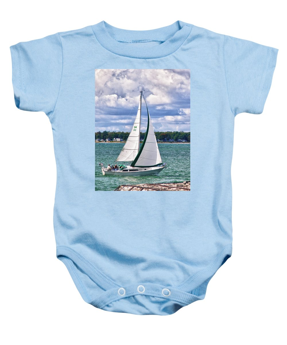 Boat Baby Onesie featuring the photograph Lake Erie Sailing 8092h by Guy Whiteley