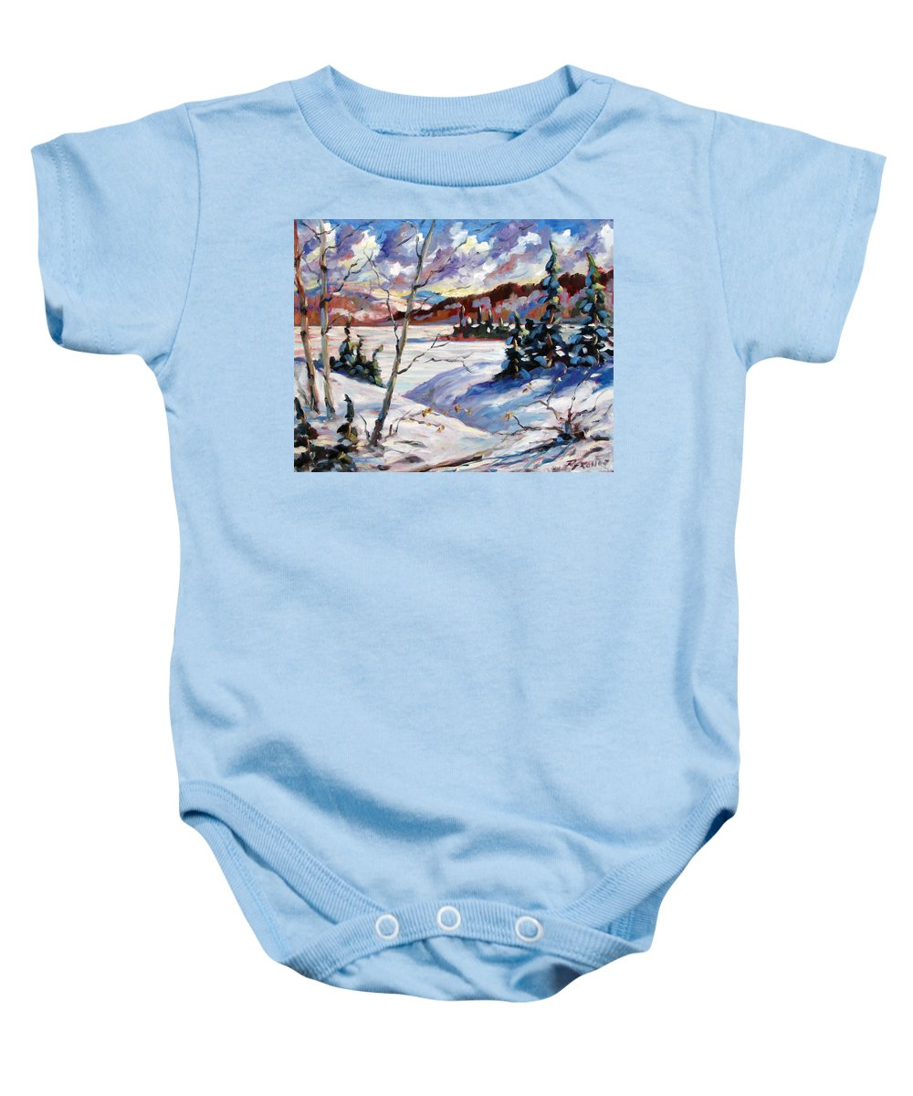 Lake Baby Onesie featuring the painting Lake In Winter by Richard T Pranke