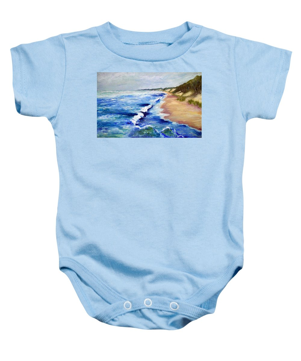 Whitecaps Baby Onesie featuring the painting Lake Michigan Beach With Whitecaps by Michelle Calkins