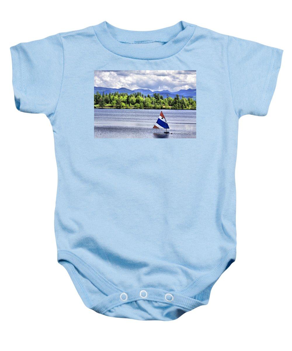 Lakeplacid Baby Onesie featuring the photograph Lake Placid by Deborah Benoit
