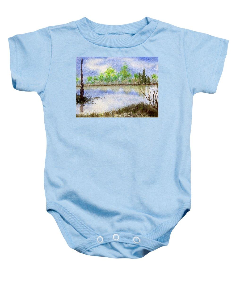 Water Baby Onesie featuring the painting Lake Scene by Jamie Frier
