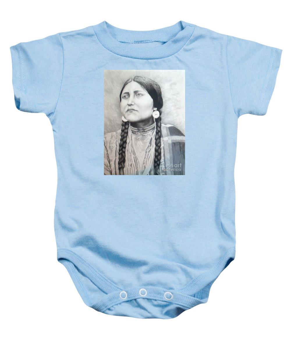 Western Baby Onesie featuring the drawing Lakota Woman by John Huntsman