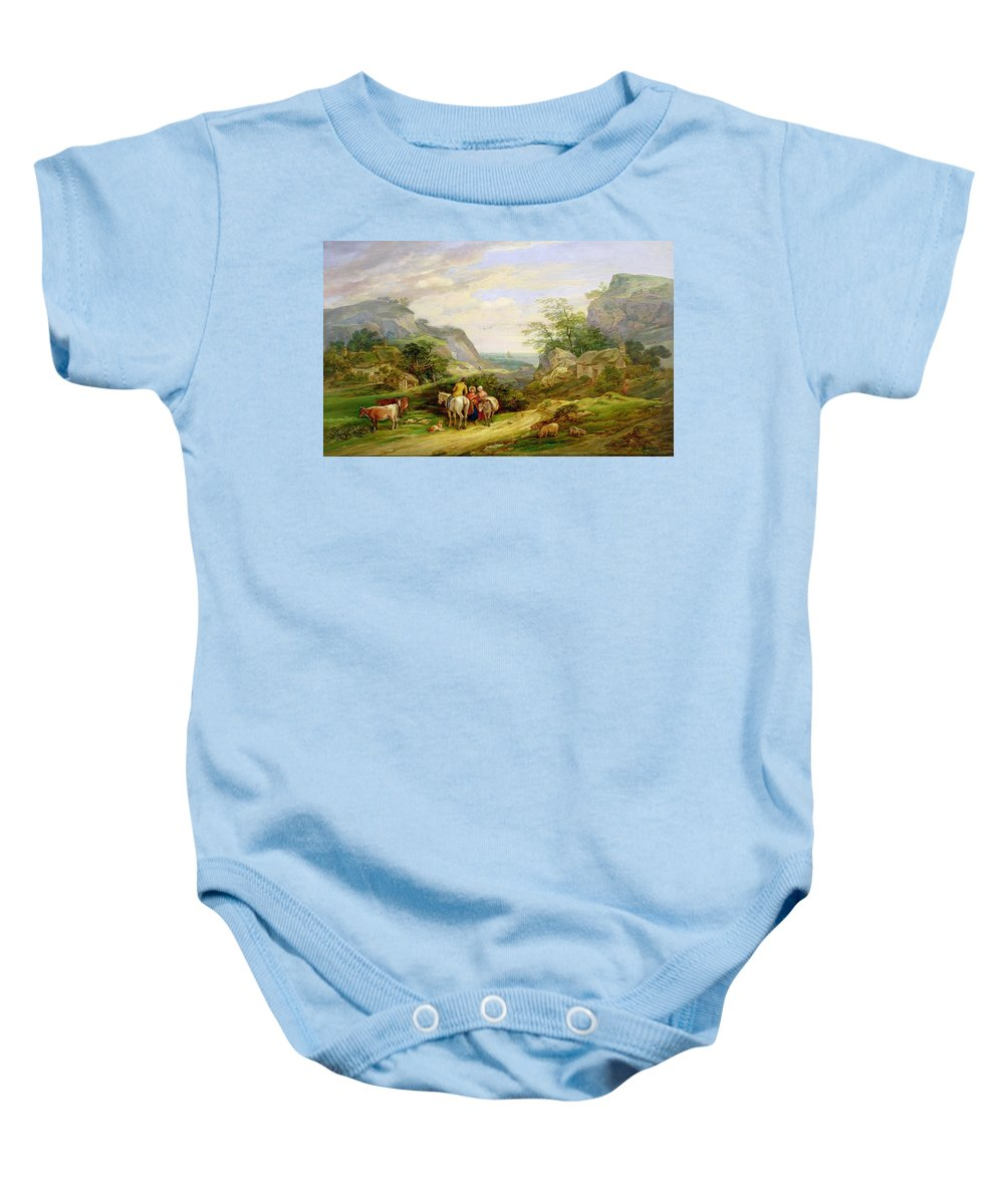 Landscape Baby Onesie featuring the painting Landscape With Figures And Cattle by James Leakey