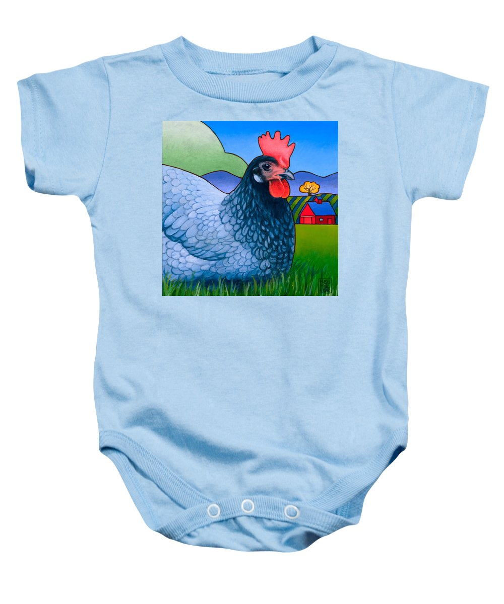 Hen Baby Onesie featuring the painting Langley The Island Girl by Stacey Neumiller