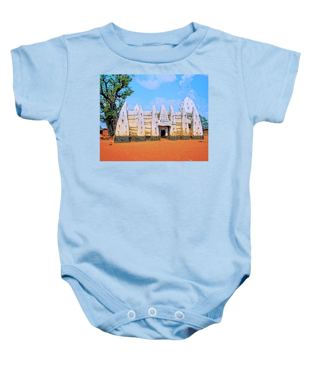 Africa Baby Onesie featuring the mixed media Larabanga Mosque by Dominic Piperata