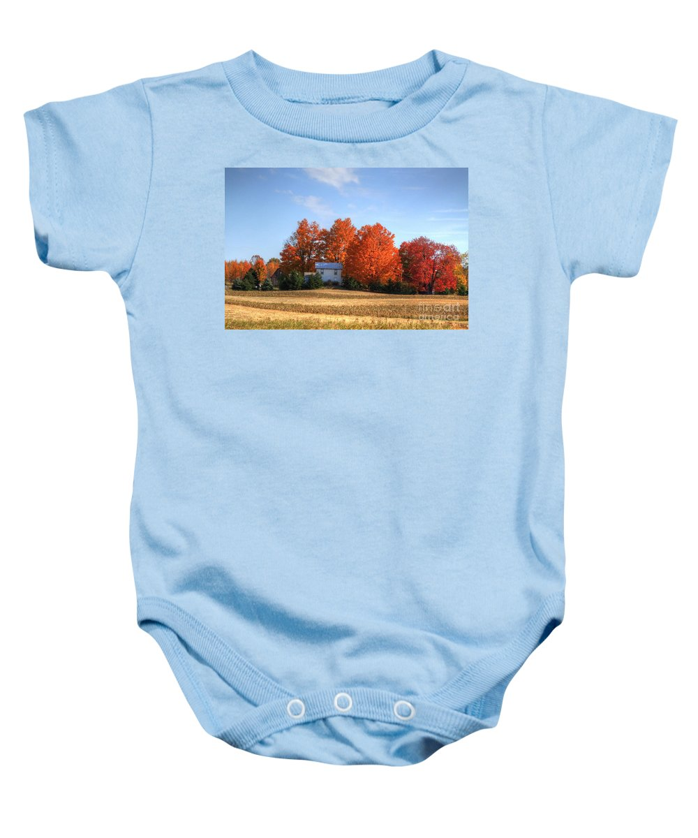 Fall Baby Onesie featuring the photograph Last Color On The Farm by Robert Pearson