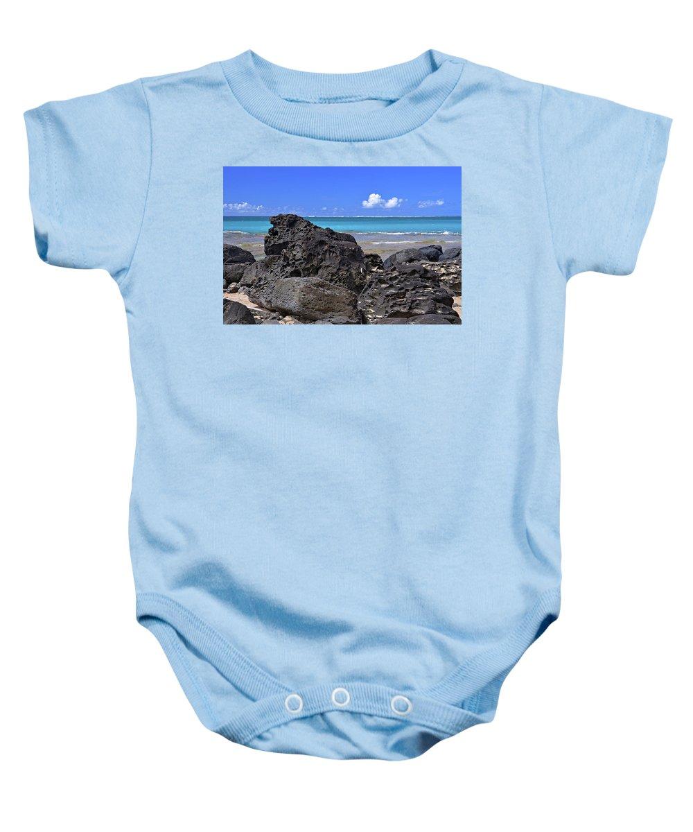 Hawaii Baby Onesie featuring the photograph Lava Rocks At Haena Beach by Marie Hicks