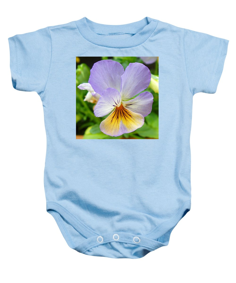 Pansy Baby Onesie featuring the photograph Lavender Pansy by Nancy Mueller