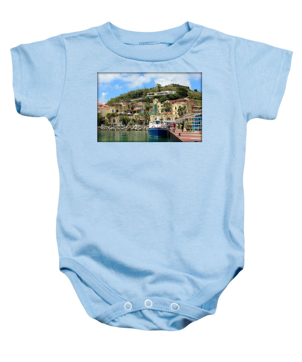 Le West Indies Mall Baby Onesie featuring the photograph Le West Indies Mall In St. Martin by Anita Hiltz