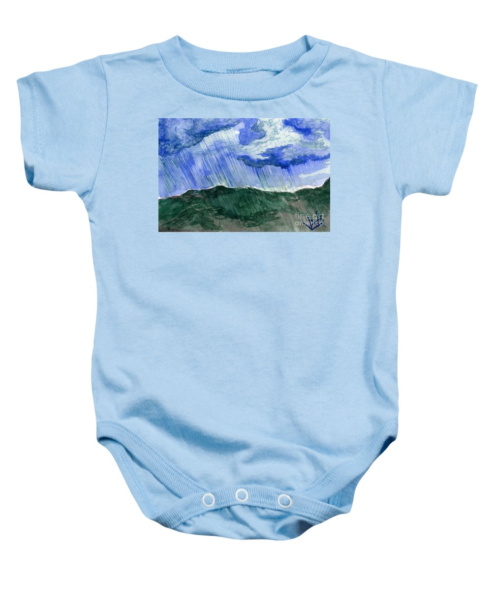 Landscape Baby Onesie featuring the painting Leaking Sky by Victor Vosen