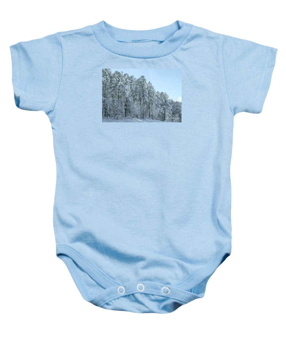 Forest Baby Onesie featuring the photograph Let It Snow 3 by Andrea Anderegg