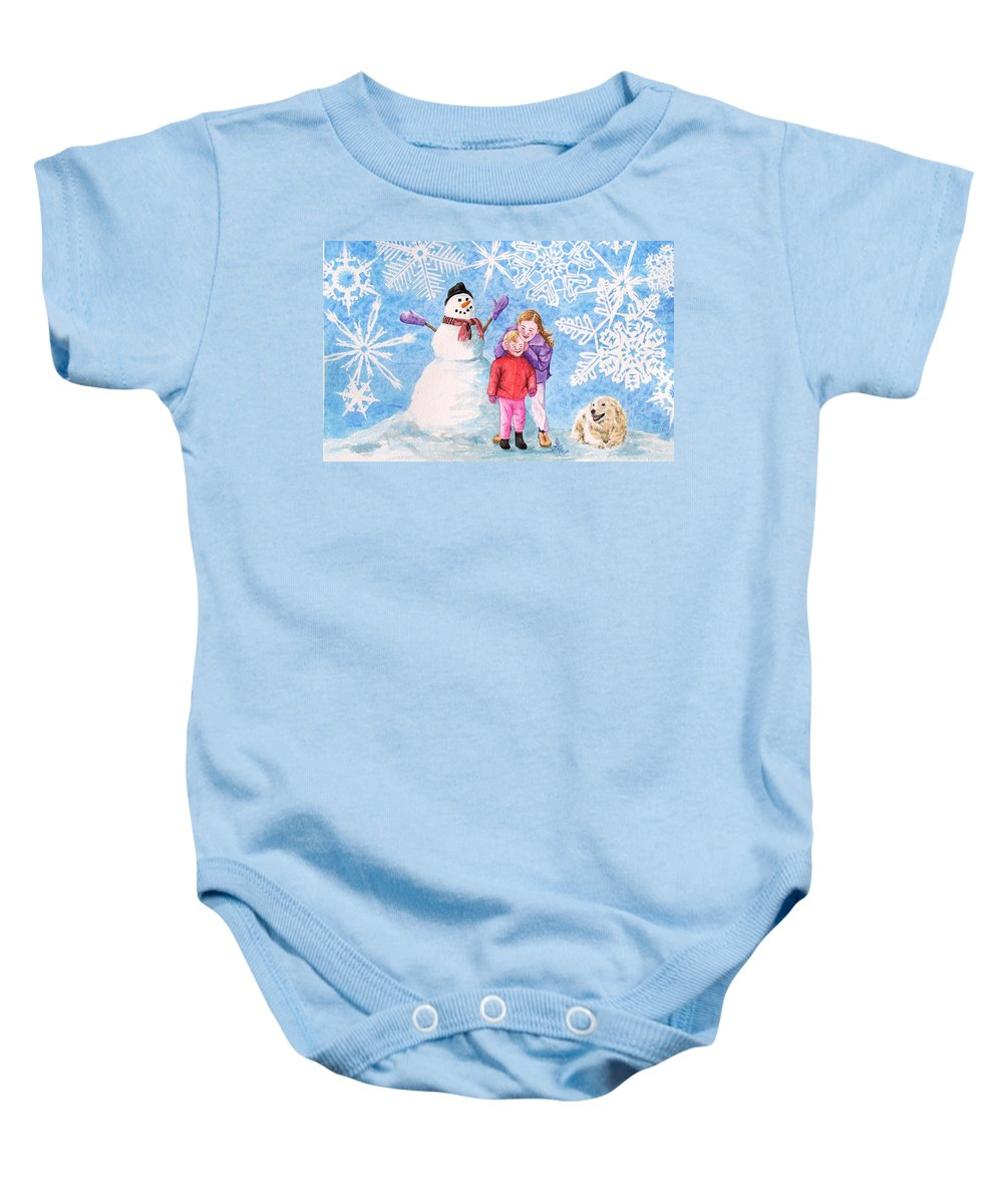 Snowman Baby Onesie featuring the painting Let It Snow by Gale Cochran-Smith