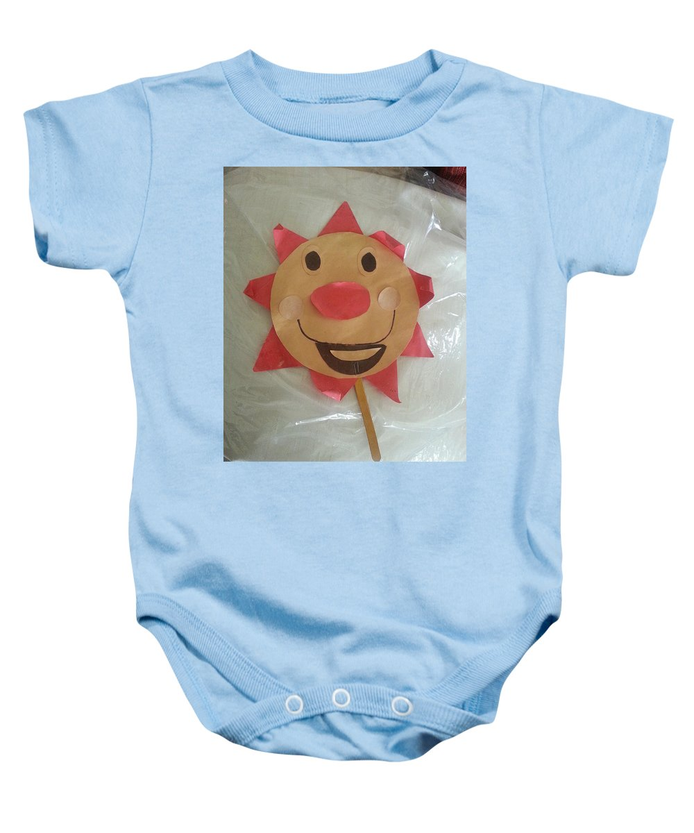 Let The Sunshine In Baby Onesie featuring the photograph Let The Sunshine In by Blue Doves
