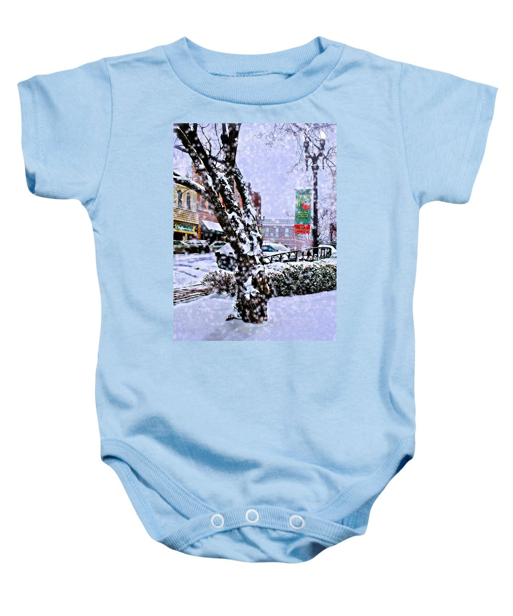 Landscape Baby Onesie featuring the photograph Liberty Square In Winter by Steve Karol