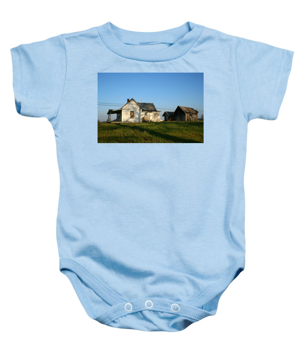 Old House Barn Life Past Age Forgotten Forget Time Left Leave Blue Green White Kentucky Ky Country Baby Onesie featuring the photograph Life Behind by Andrei Shliakhau
