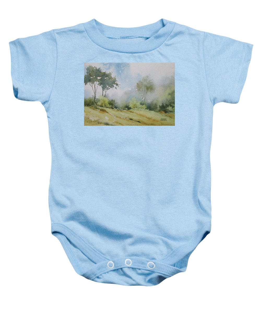 Landscapes Baby Onesie featuring the painting Life On The Edge by Sandeep Khedkar