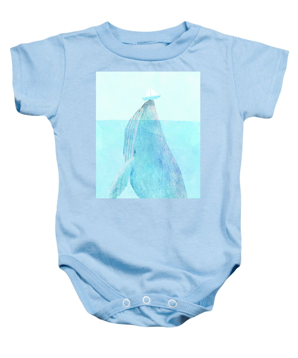Whale Baby Onesie featuring the drawing Lift option by Eric Fan