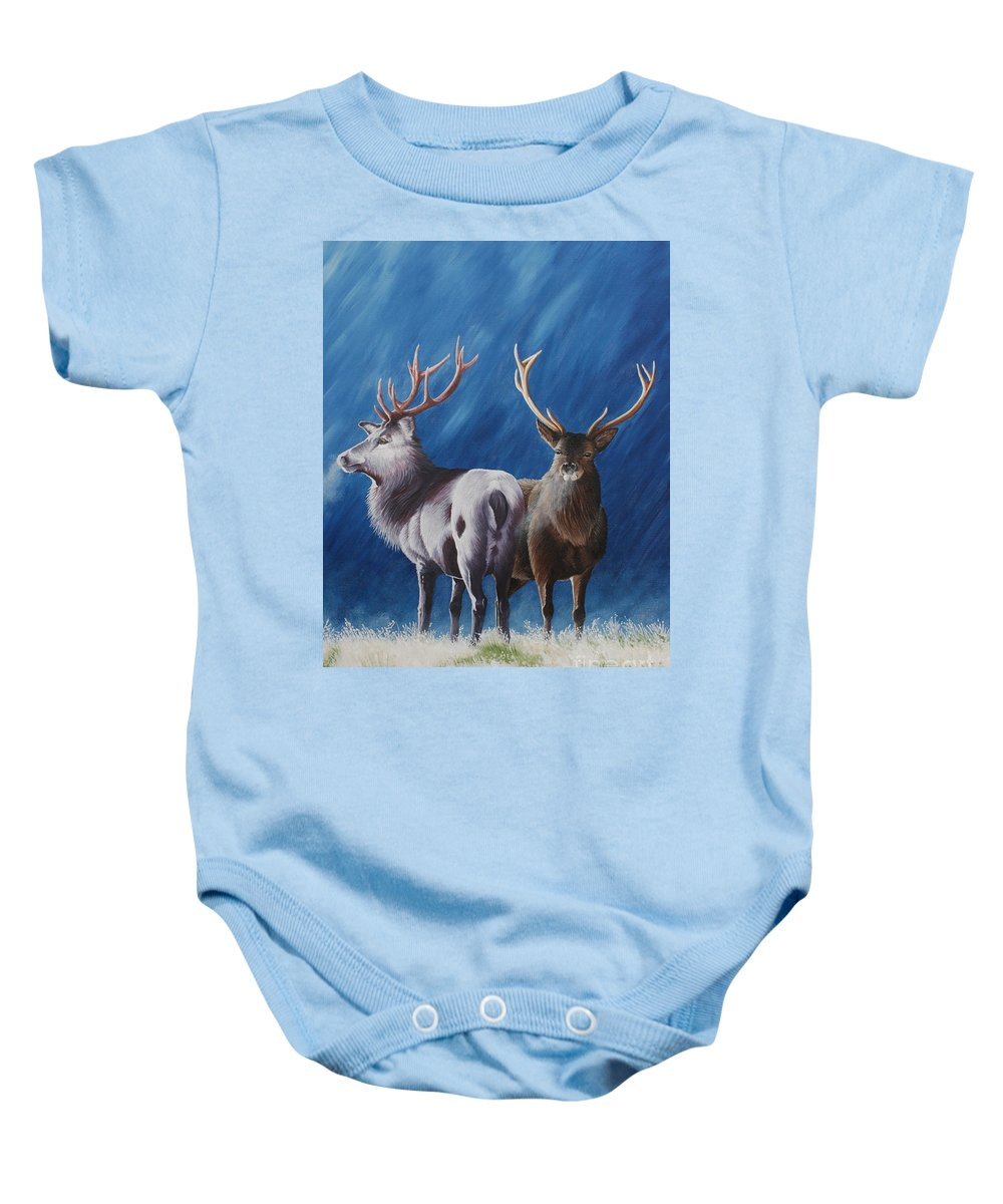 Portrait Baby Onesie featuring the painting Light And Dark Stags by Pauline Sharp