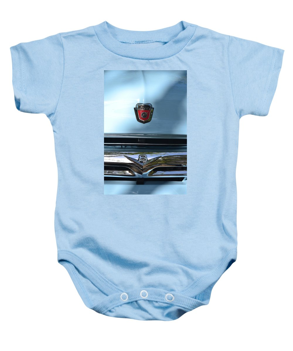 Baby Onesie featuring the photograph Light Blue Ford Pickup by Dean Ferreira