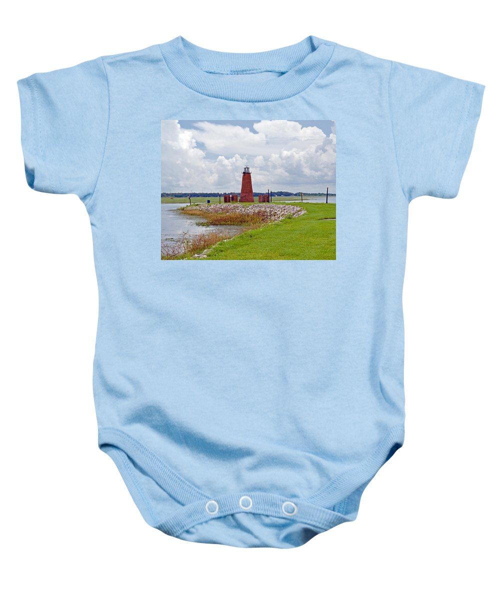 Florida; Kissimmee; Toho; Tohopekaliga; Port; Light; Lighthouse; House; Beacon; Brick; Central; Harb Baby Onesie featuring the photograph Lighthouse At Port Kissimmee On Lake Tohopekaliga In Central Florida  by Allan Hughes