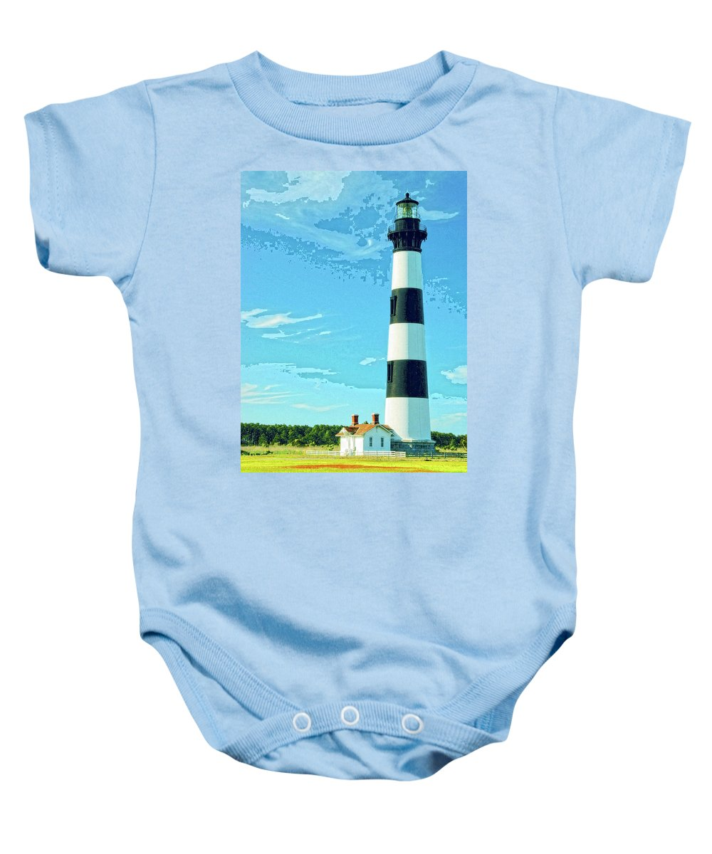Lighthouse Baby Onesie featuring the mixed media Lighthouse Bodie Island by Dominic Piperata