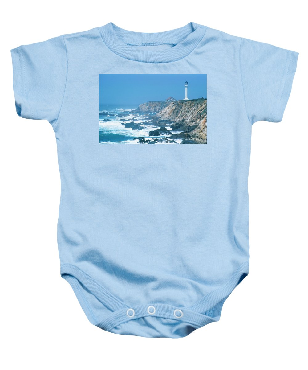 Lighthouse Baby Onesie featuring the photograph Lighthouse On The California Coast by Ronnie Glover