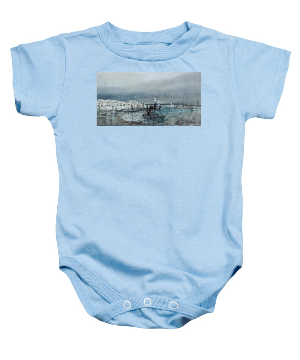 Donald Maxwell (1877-1936) - Coastal View Of A Harbour Baby Onesie featuring the painting Lighthouses Beyond by Donald Maxwell
