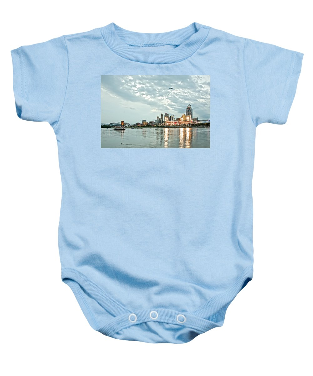 Allstars Game Baby Onesie featuring the photograph Lights Of Reds Game by Randall Branham