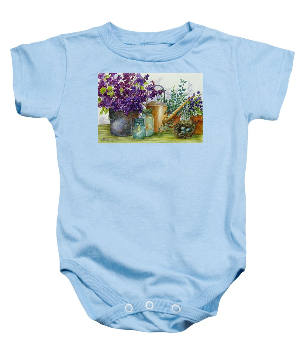 Still Life;lilacs; Ball Jars; Watering Can;bird Nest; Bird Eggs; Baby Onesie featuring the painting Lilacs and Ball Jars by Lois Mountz