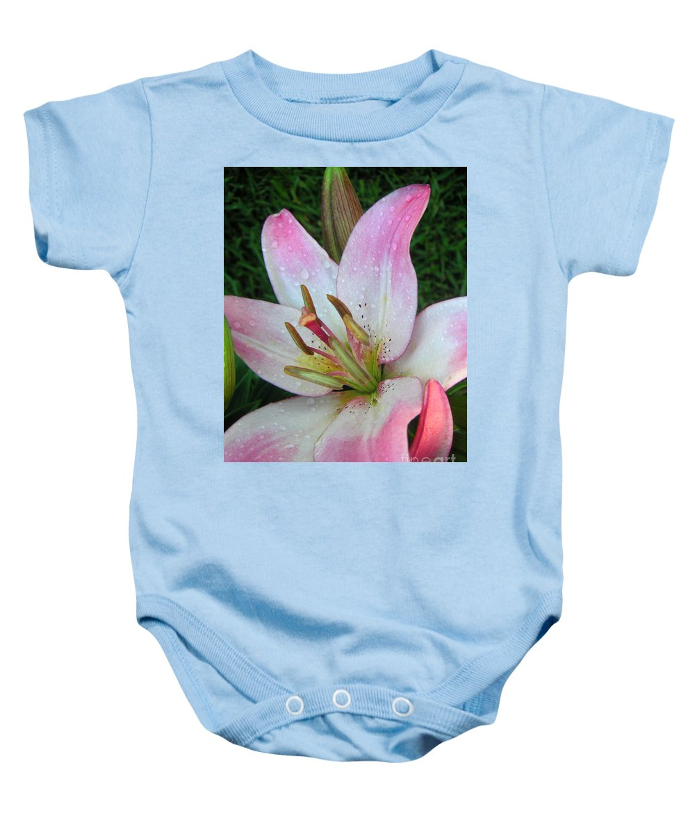 Nature Baby Onesie featuring the photograph Lily Singled Out by Lucyna A M Green