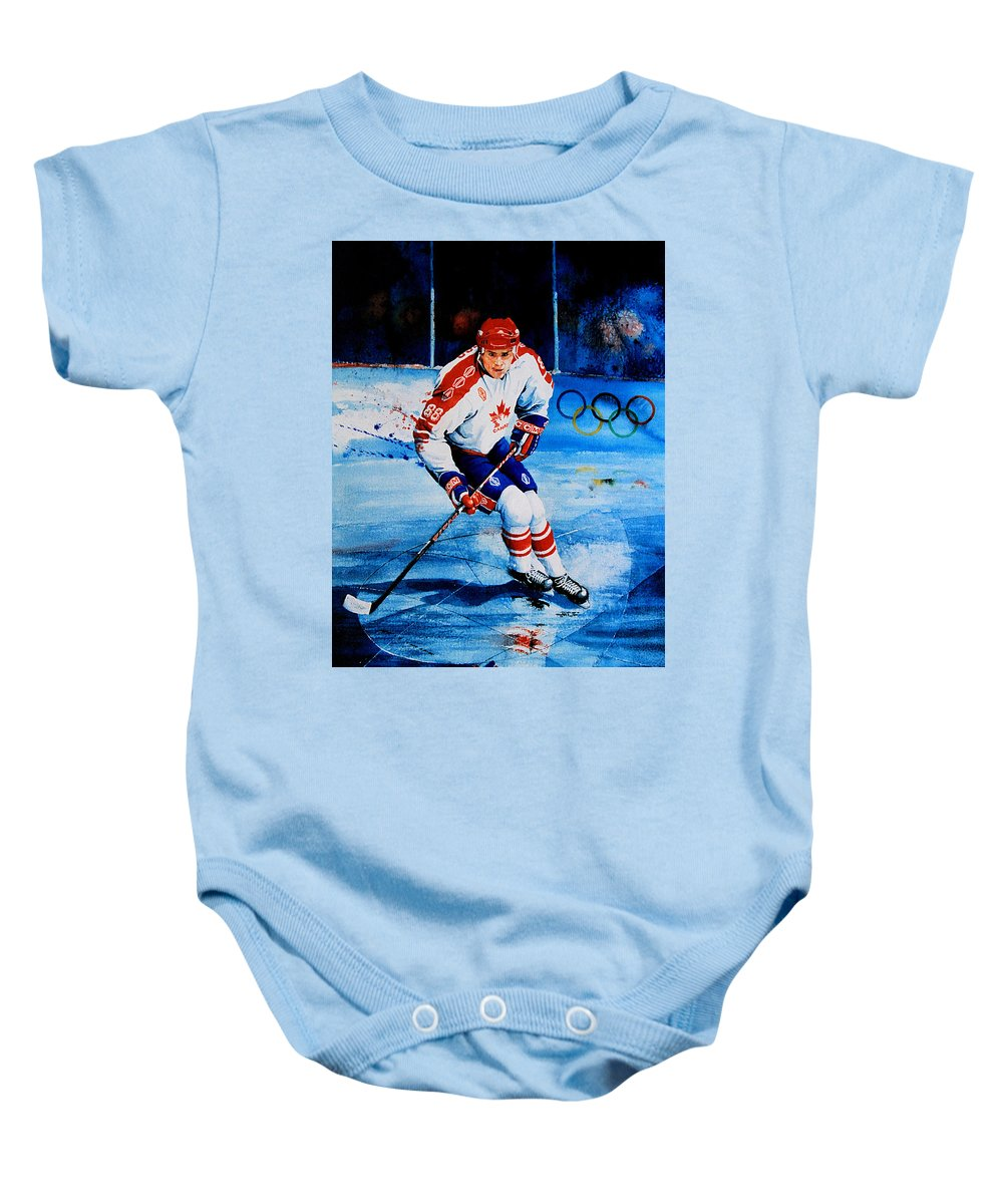 Sports Art Baby Onesie featuring the painting Lindros by Hanne Lore Koehler