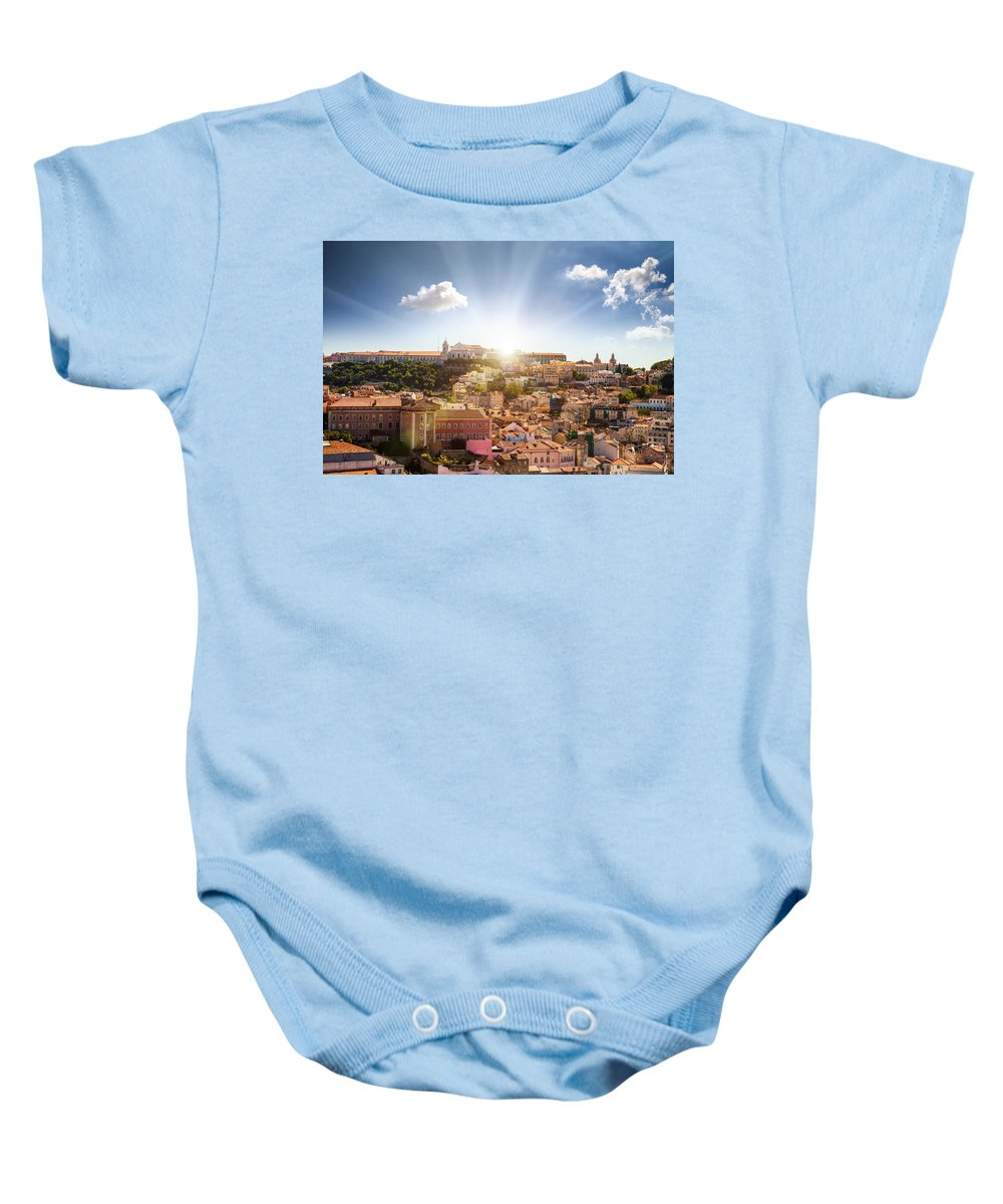Alfama Baby Onesie featuring the photograph Lisbon Panoramic View To Afama by Leonardo Patrizi