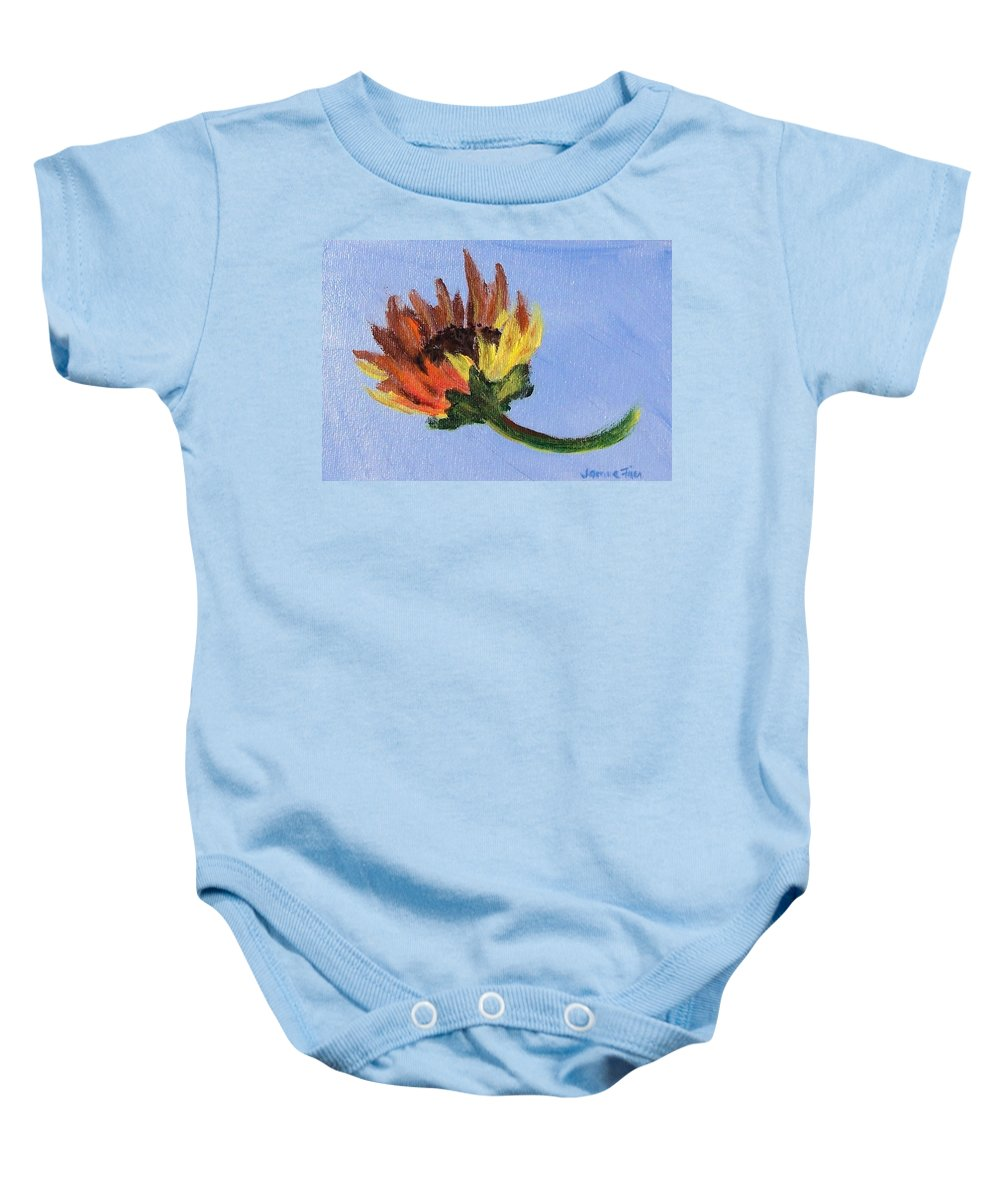 Flower Baby Onesie featuring the painting Little Sunflower by Jamie Frier