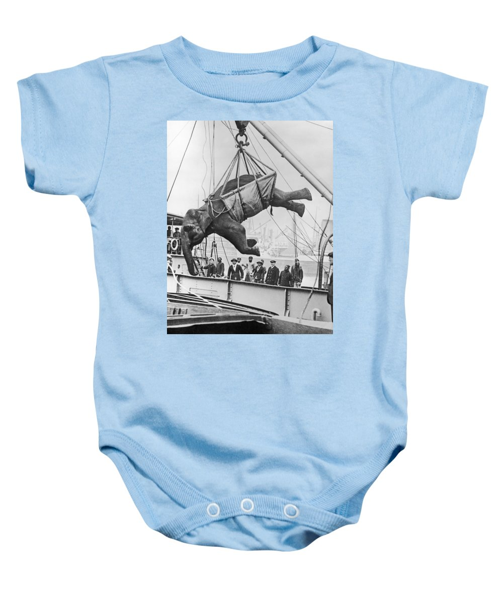 1930 Baby Onesie featuring the photograph Loading Elephant, 1930s by Granger