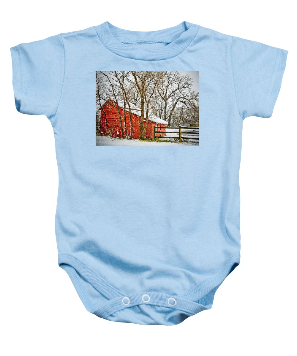 Americana Baby Onesie featuring the photograph Loafing Shed by Marilyn Hunt