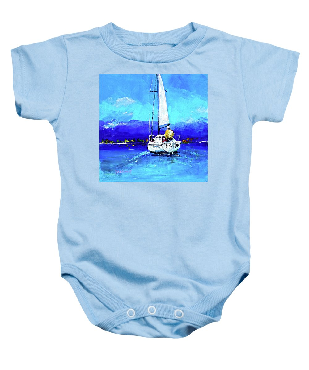 Sailing Baby Onesie featuring the painting Loch Lomond Sail by Peter Tarrant