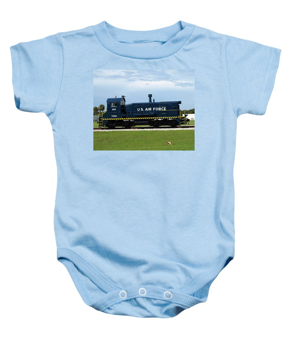 Airforce; Air Force; Air; Force; U.s.; Locomotive; Engine; Rail; Road; Railroad; Railway; Train; Gro Baby Onesie featuring the photograph Locomotive For Titan Rockets At Cape Canaveral In Florida by Allan Hughes