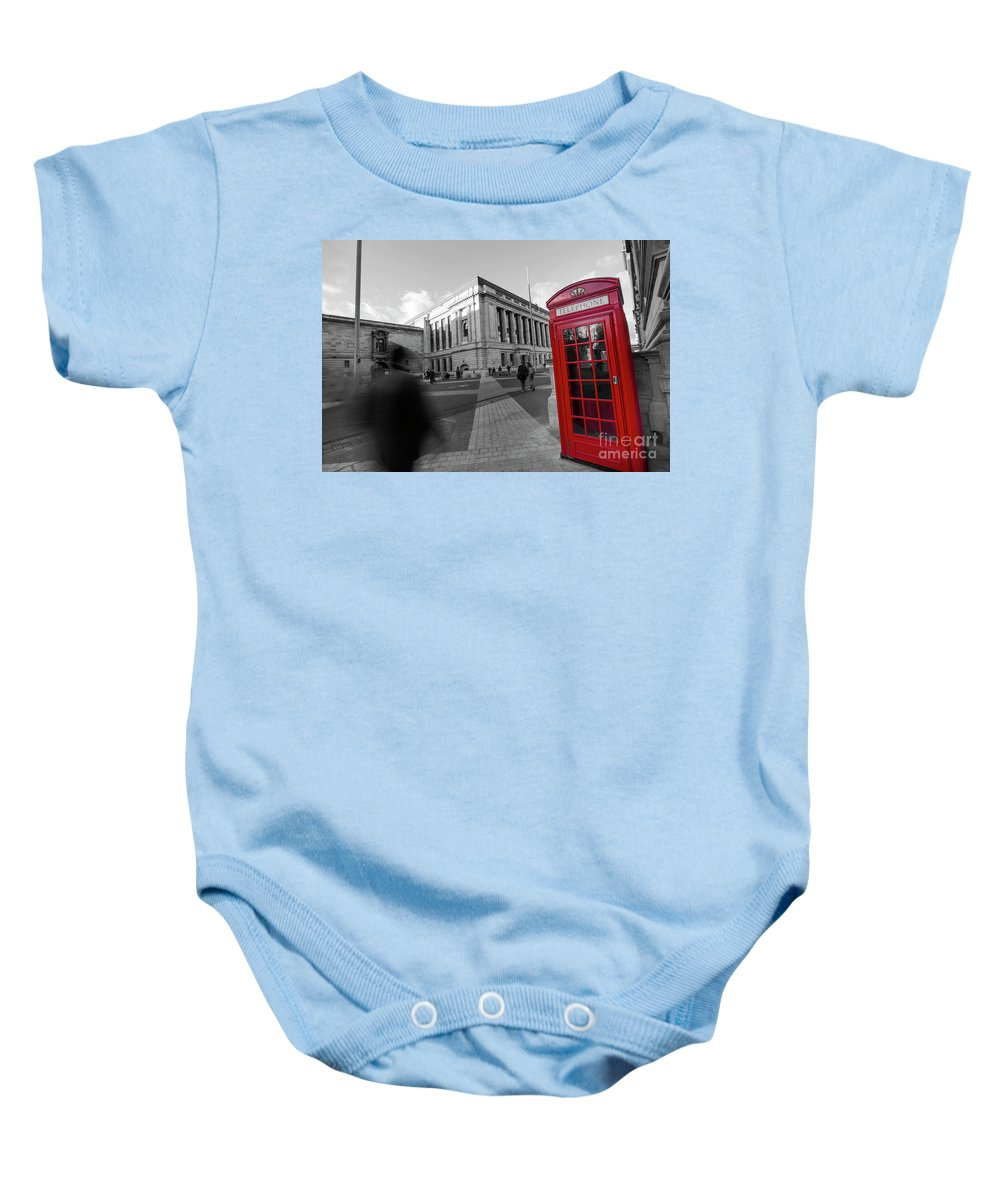 Big Ben Baby Onesie featuring the photograph London Telephone 2 B by Alex Art and Photo