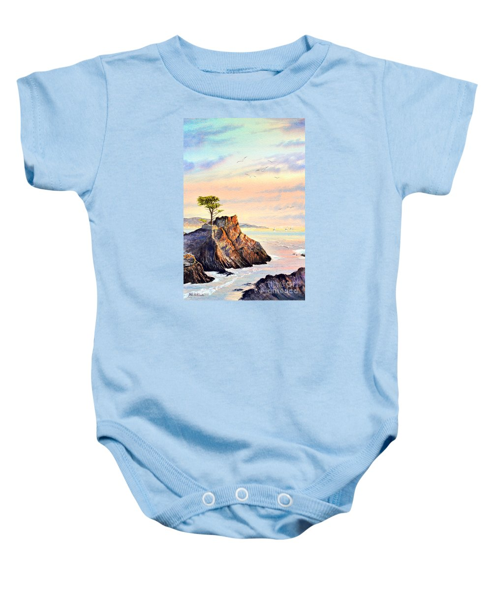 Lone Cypress Tree Baby Onesie featuring the painting Lone Cypress Tree Pebble Beach by Bill Holkham