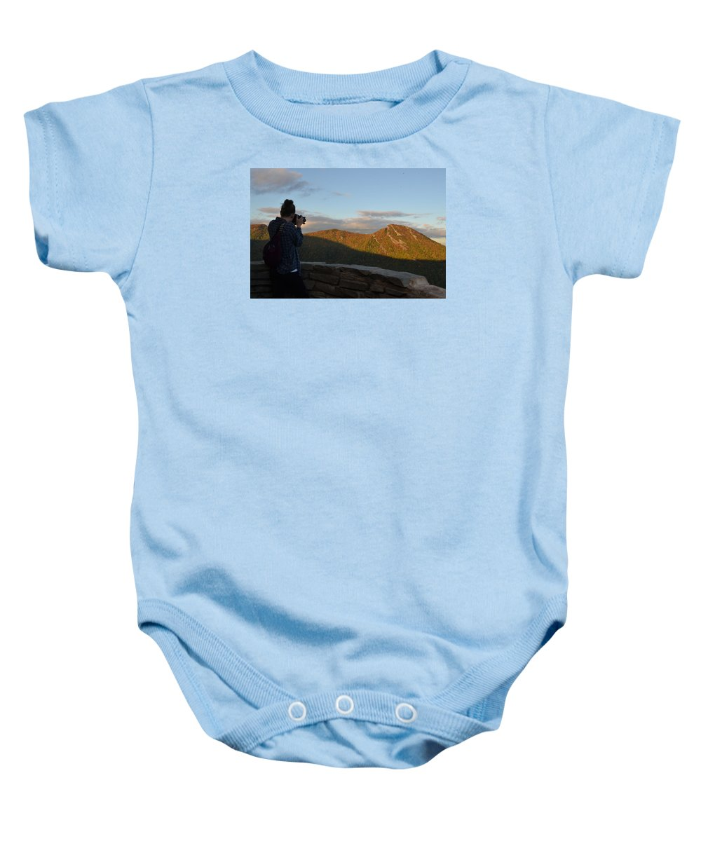 Lone Photographer Baby Onesie featuring the photograph Lone Photographer I by Dan Ya