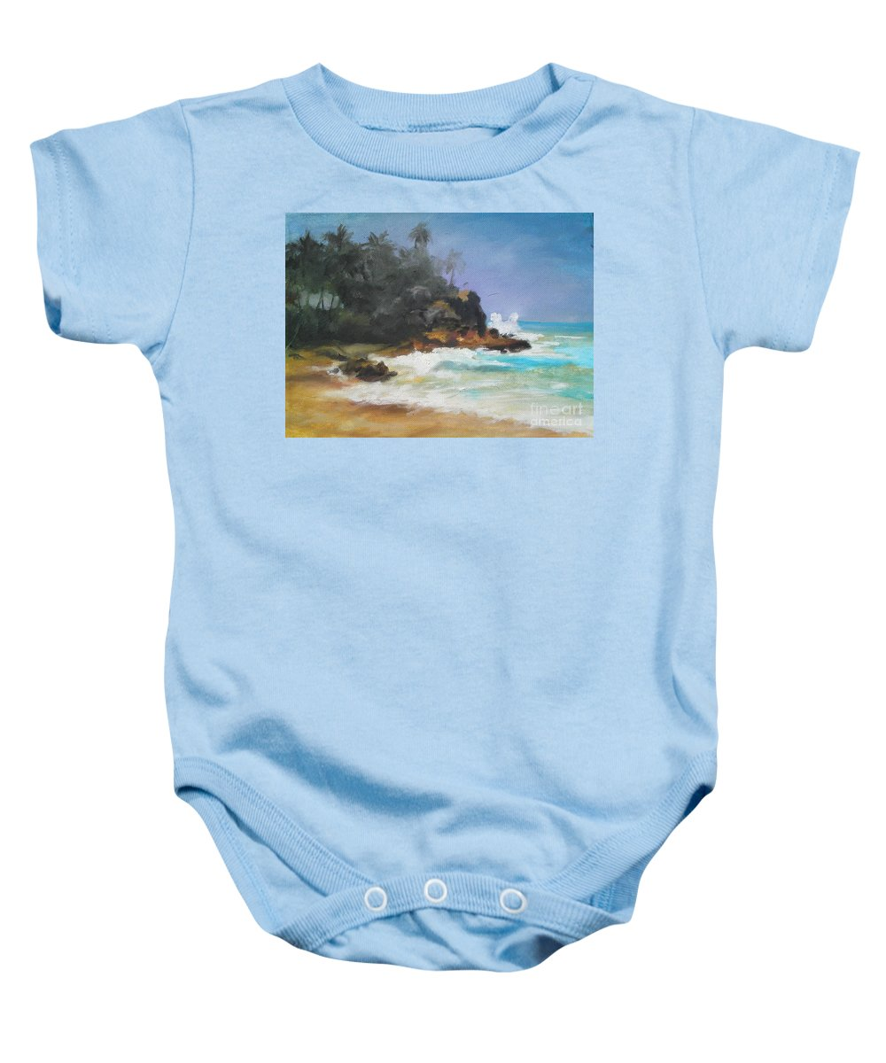 Seascape Baby Onesie featuring the painting Lonely Sea by Rushan Ruzaick