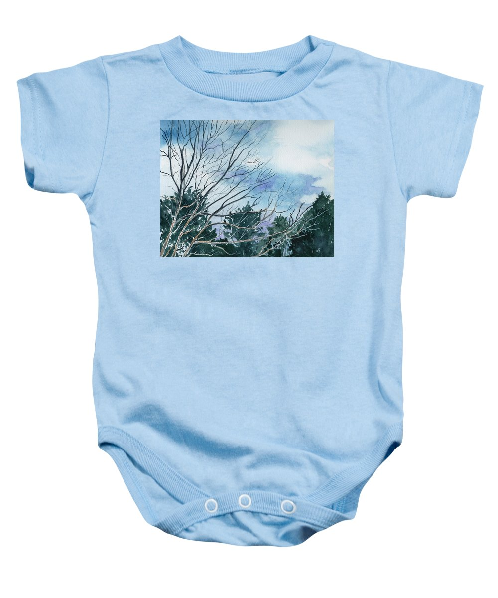 Watercolor Landscape Trees Sky Clouds Blue Baby Onesie featuring the painting Look To The Sky by Brenda Owen