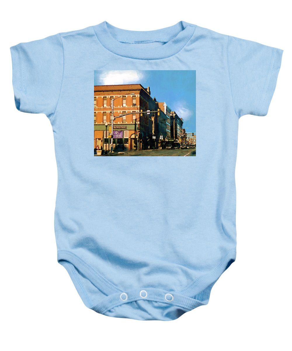 Buildings Baby Onesie featuring the painting Looking Up Main Street by RC deWinter