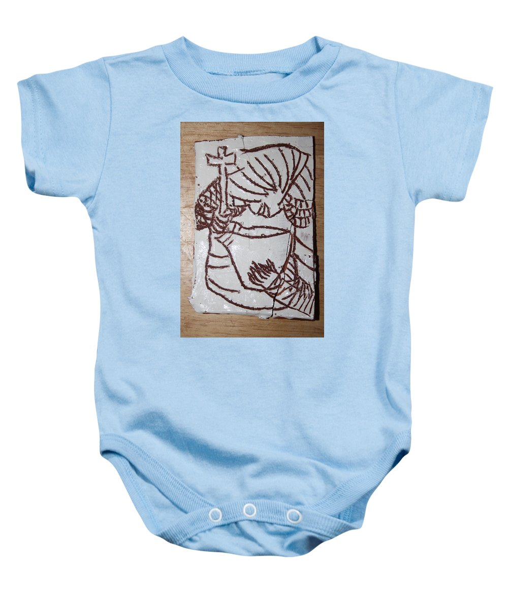 Plaquesmamamama Africa Twojesus Baby Onesie featuring the ceramic art Lord Bless Me 24 by Gloria Ssali