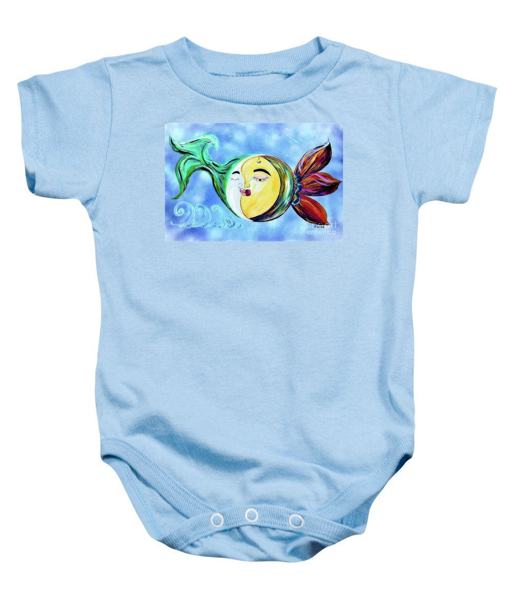 Contemporary Baby Onesie featuring the painting Love Connect - You Are My Moon And Sun by Eloise Schneider