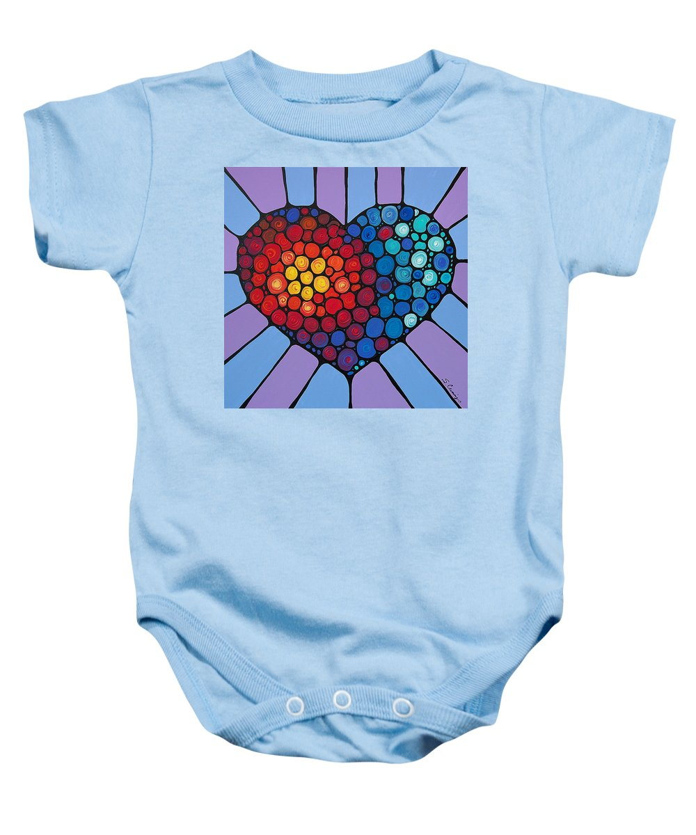 Heart Baby Onesie featuring the painting Love Conquers All by Sharon Cummings