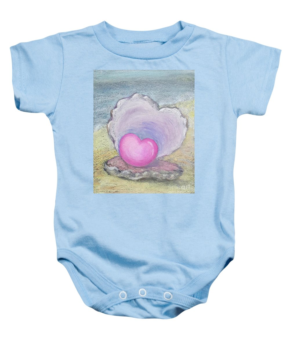 Heart Baby Onesie featuring the pastel Love Endures All Things by Yoonhee Ko