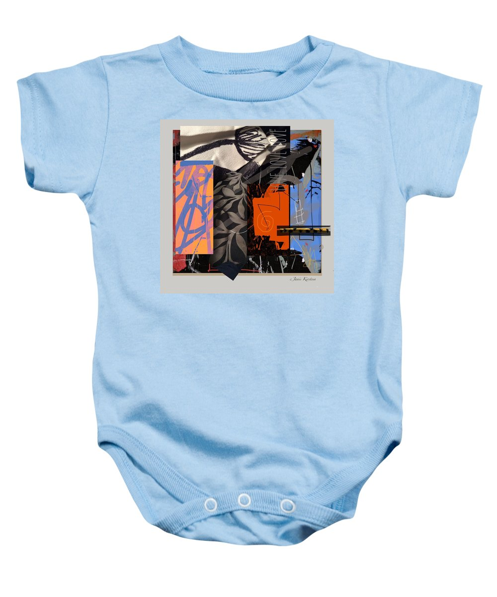 Collage Baby Onesie featuring the mixed media Love Love Love 1 by Janis Kirstein