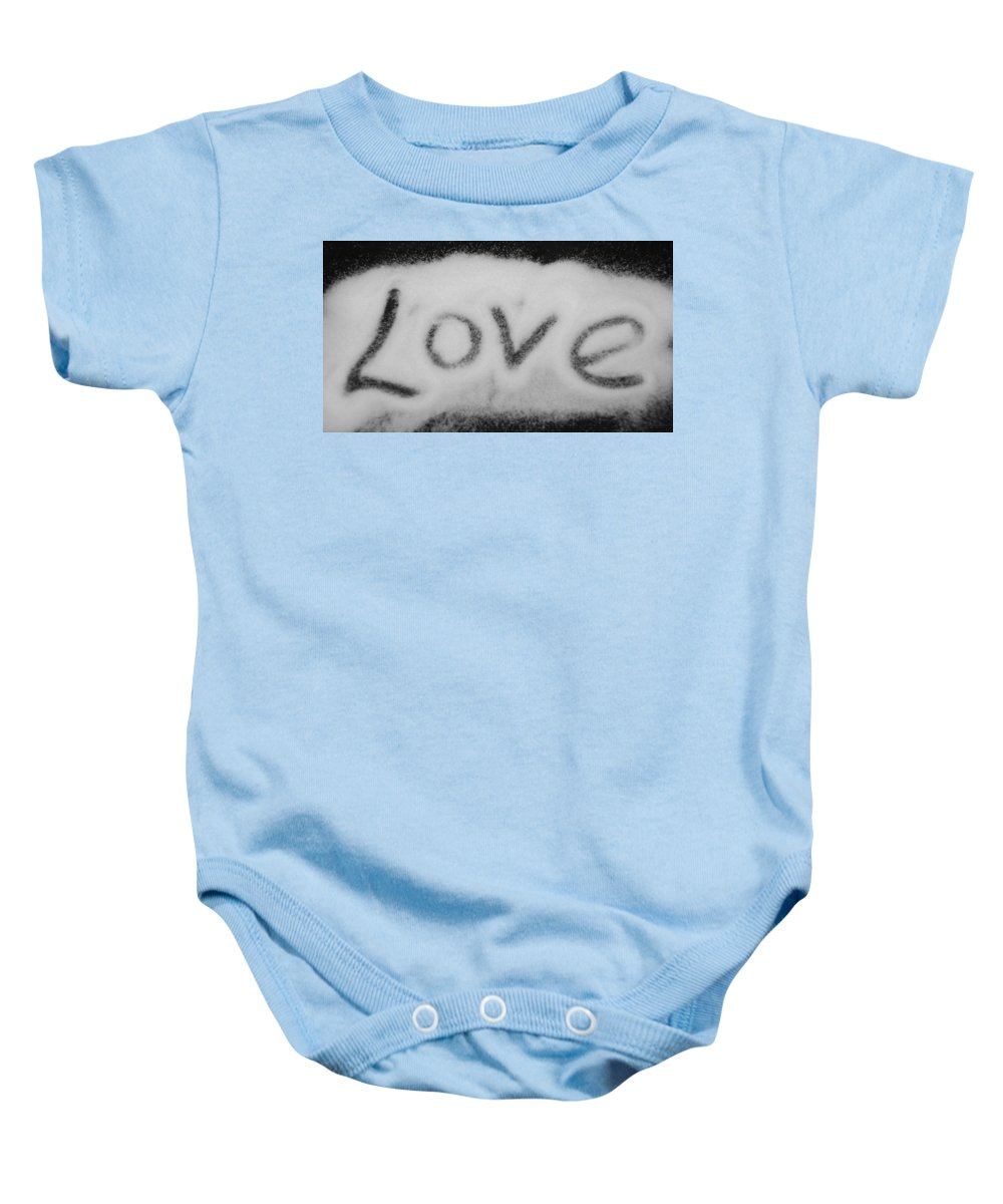 Black And White Baby Onesie featuring the photograph Love by Rob Hans
